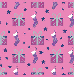 Cute hand drawn christmas pattern background with vector