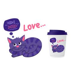 Cute pet cat is dreams a fish for printing vector