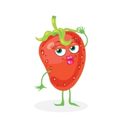 Cute strawberry on a white background character vector image
