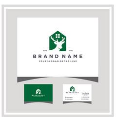 Deer home logo design and business card vector