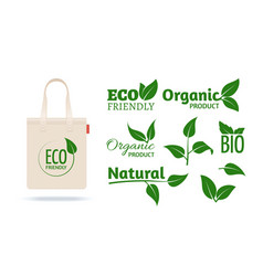 eco friendly shopping bag realistic textile pack vector image