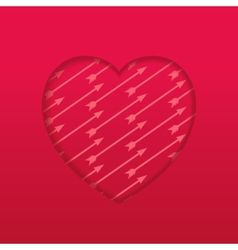 Engraved heart with pattern arrow vector