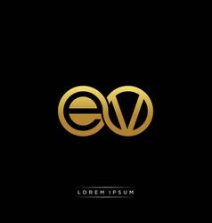 ev initial letter linked circle capital monogram vector image