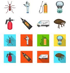 Flea special car and equipment cartoonflat icons vector