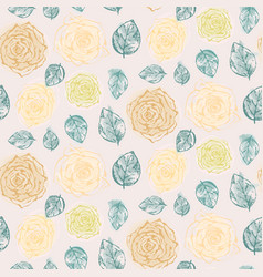 floral pattern with tender yellow roses and leaves vector image