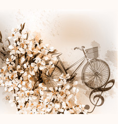 floral retro background with flowers and bike vector image