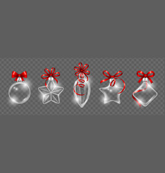 glass christmas toys with red ribbon bow vector image