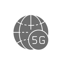 global 5g internet grey icon isolated on white vector image