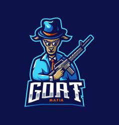 Goat mascot logo design with modern vector