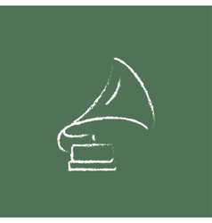 Gramophone icon drawn in chalk vector image