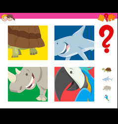 Guess wild animals activity for children vector