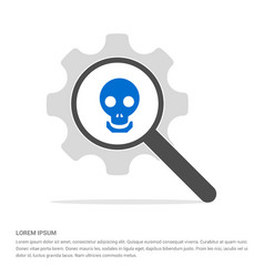 halloween skull icon search glass with gear vector image