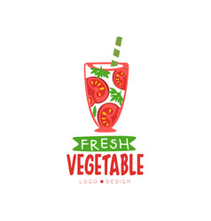Hand drawn label for natural tomato juice vector