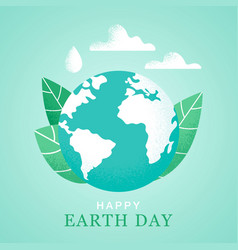 happy earth day 22 april banner world map vector image