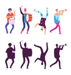 Happy men in bright clothes with musical vector