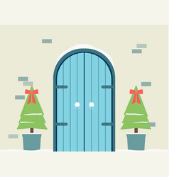 house front wooden doors and christmas trees in vector image