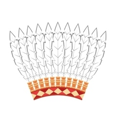 Indian hat feathers icon vector
