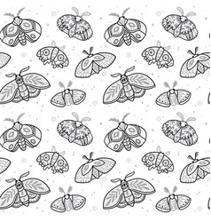 ink seamless pattern with hand drawn moths vector image