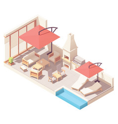 Isometric patio with barbecue and pool vector