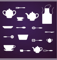 Kitchen appliances utensils and icons - set vector