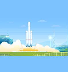 Launch rocket cartoon flat vector