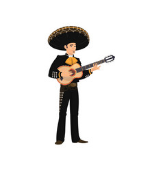 mariachi musician in sombrero hat playing guitar vector image