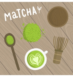 Matcha tea set on the wooden background vector image