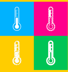 Meteo diagnostic technology thermometer sign four vector