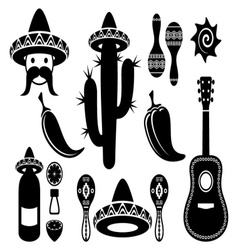 Mexico silhouette icons vector image
