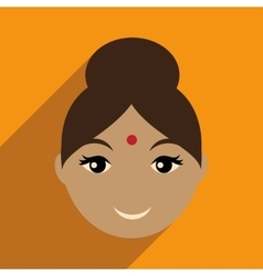 Modern flat icon with long shadow Indian girl vector