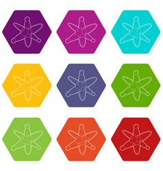 molecules icons set 9 vector image