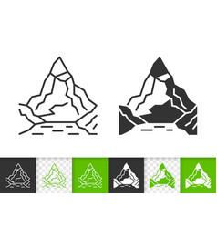 mountain simple black line climbing icon vector image