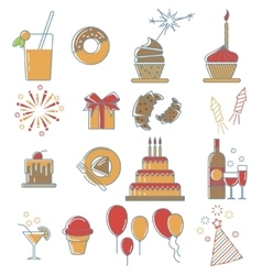 Party line icons collection vector