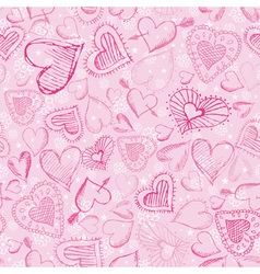 pink valentines background with hand drawn hearts vector image