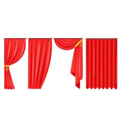 red curtains set luxury interior drapery cornice vector image