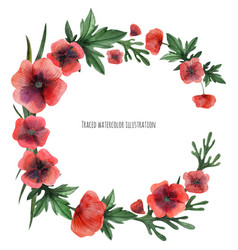 Red poppies wreath vector