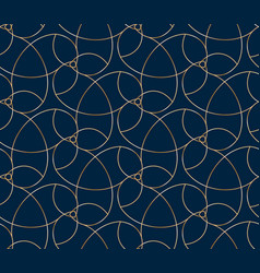 seamless golden flower pattern on blue background vector image