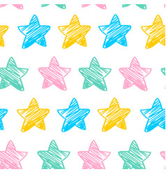 seamless pattern with colorful doodle stars vector image