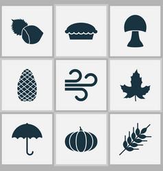 Seasonal icons set with apple pie wheat maple vector