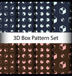 set 3d box seamless pattern background vector image