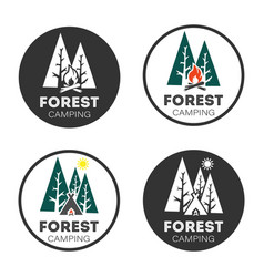 set logo forest camping style design on a white vector image
