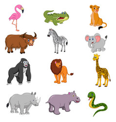 set of african animals cartoon vector image