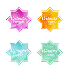 set of banners with star shape with a watercolor vector image