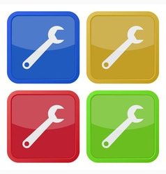 set of four square icons with spanner vector image