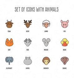 Set of icons with animals Cow deer lamb pig cat vector