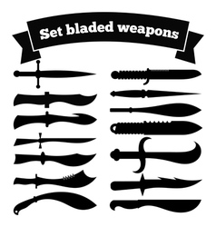 Set of silhouettes of knives vector image