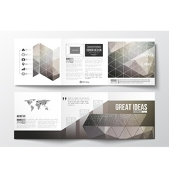 Set of tri-fold brochures square design templates vector image vector image