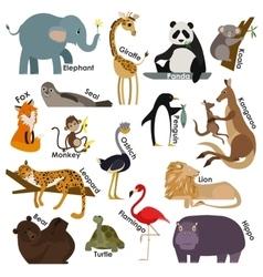 set zoo cartoon animals flat style design vector image