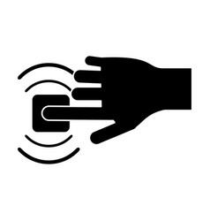 Silhouette hand touch button wifi graphic vector
