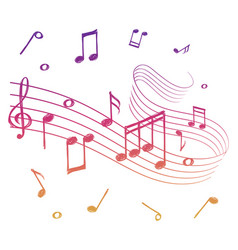 sketch colorful musical sound wave with music vector image